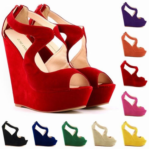 NEW ELEGANT LADIES PLATFORM PEEP TOE Velvet  HIGH HEELS WEDGE SHOES SANDALS SIZE US5-10  391-2VE