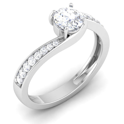 Perspective View of Designer Curvy Platinum Solitaire Engagement Ring for Women JL PT 480
