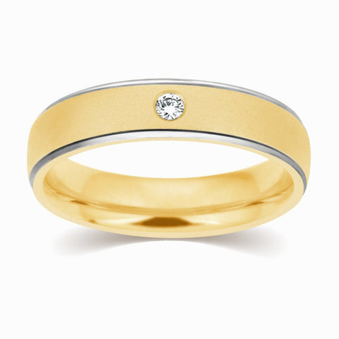 Gold Rings - 2 Tone Yellow Gold White Gold Wedding Band With Single Diamond JL AU 110