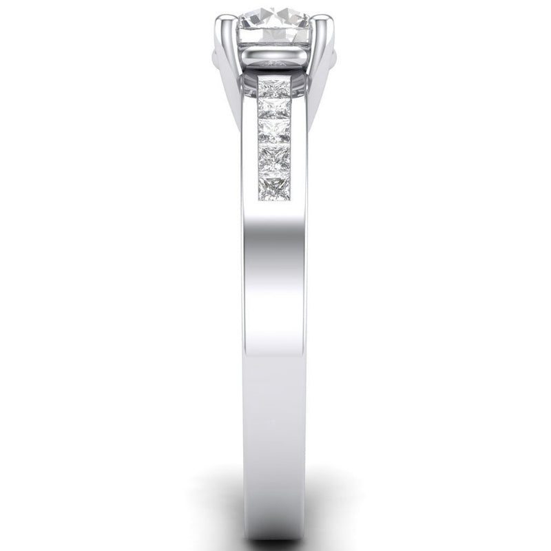 Platinum Solitaire Rings in India - 30 Pointer Solitaire Platinum Engagement Ring With Princess Cut Diamond Accents For Women JL PT 461
