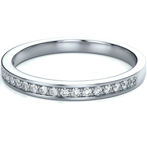 Half Eternity Platinum Wedding Band with Diamonds set in Channel Setting SJ PTO 244 in India
