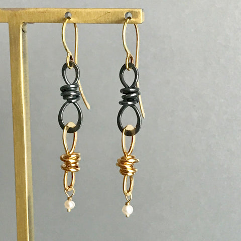 Small Double Knot Drop Earring, Oxidized Silver & Gold