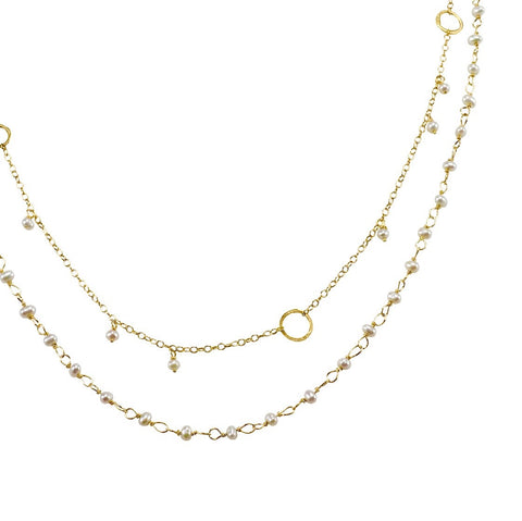 The Hand Tied Pearl Necklace & The Delicate Necklace With Circles And Stones