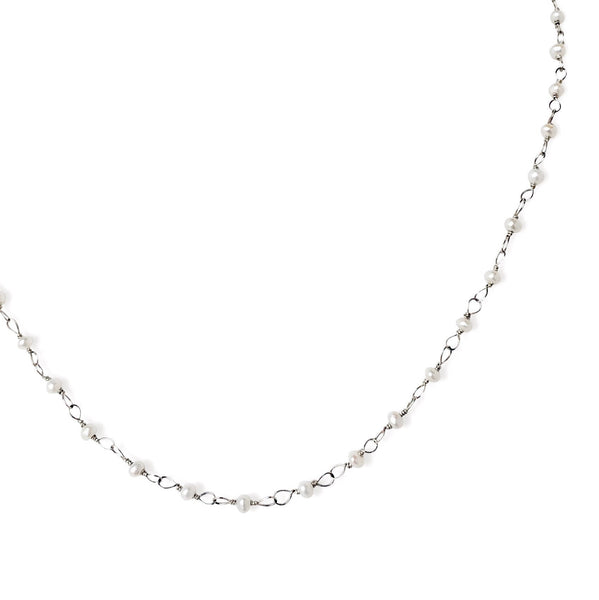Silver Hand Tied Pearl Necklace