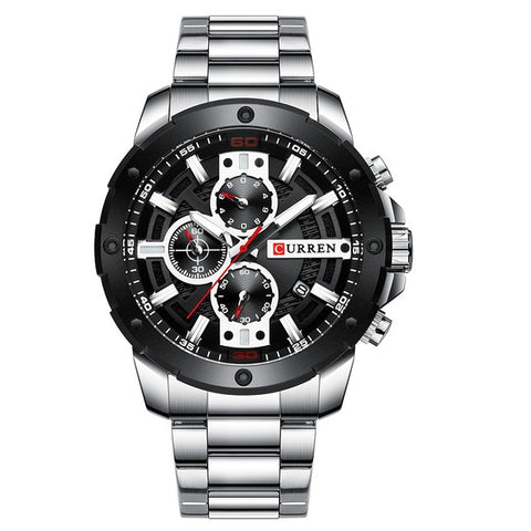 Men's Beautiful Silver Stainless Steel Sports Minimal Watch