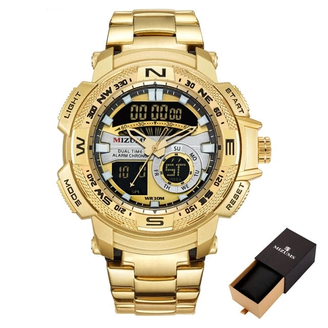 Men's Gold Luxury Waterproof LED Military Digital Watch