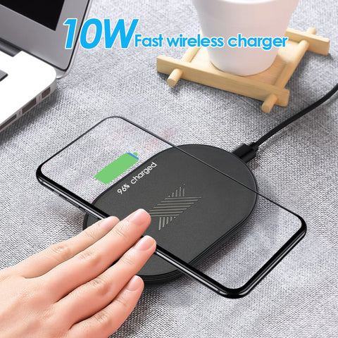 Fast Black Wireless Charger For iPhone 8 X XR XS Samsung S10 10W