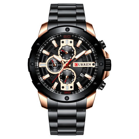 Men's Divine Black Stainless Steel Sports Minimal Watch