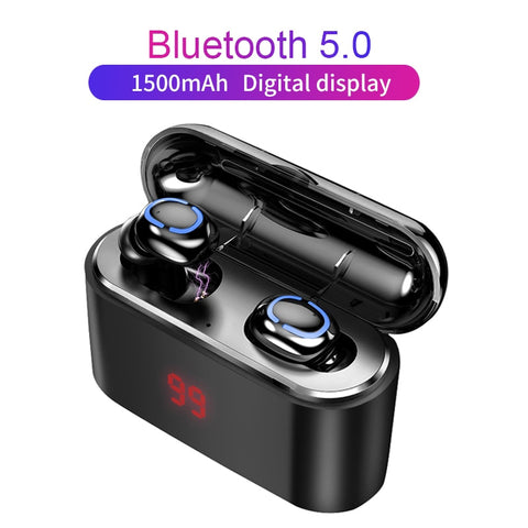 Black 3D Stereo True Bluetooth 5.0 Gaming Earbud Set w/Mic Charging Display