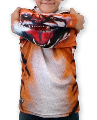 closeup tiger hoodie shirt with mouth on sleeves