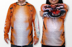 Front view of Mouthman tiger hoodie shirt with chomping sleeves