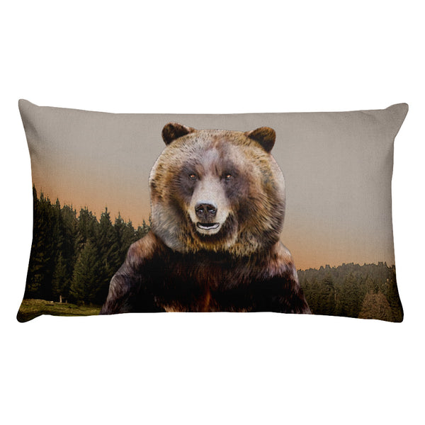 Grizzly Bear Rectangular Pillow by Mouthman®