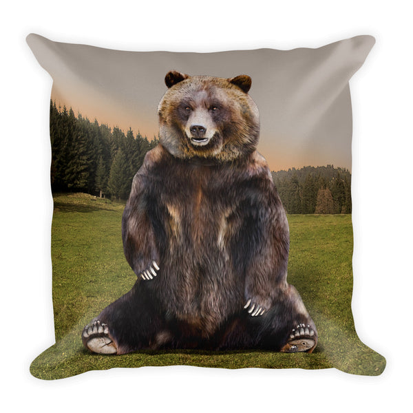 Grizzly Bear Square Pillow by Mouthman®