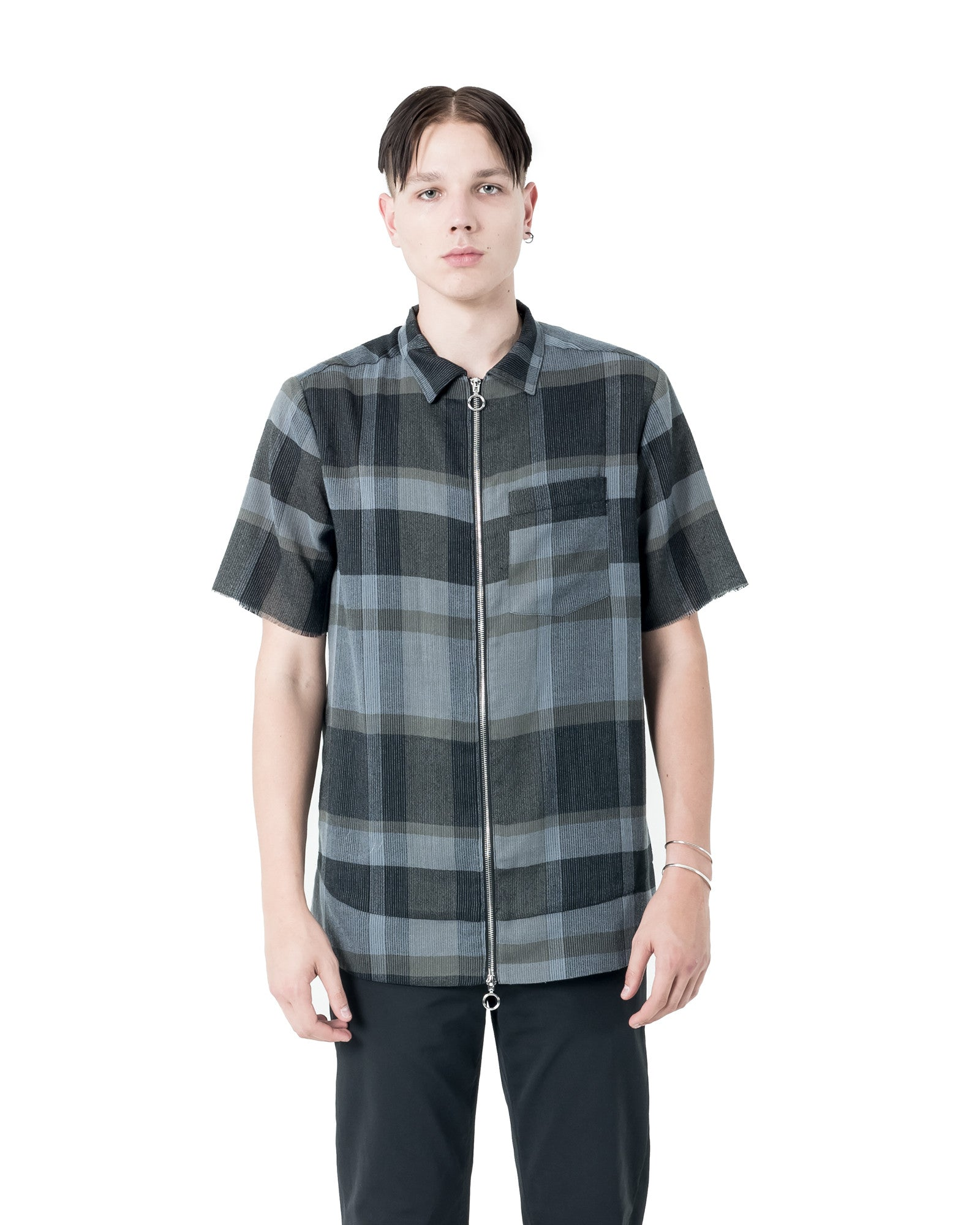 Ome Zip Up Shirt - Navy/Grey Plaid