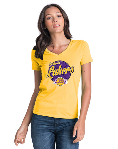 Los Angeles Lakers Women's LeBron James Primary Logo Cracked T-Shirt - Purple