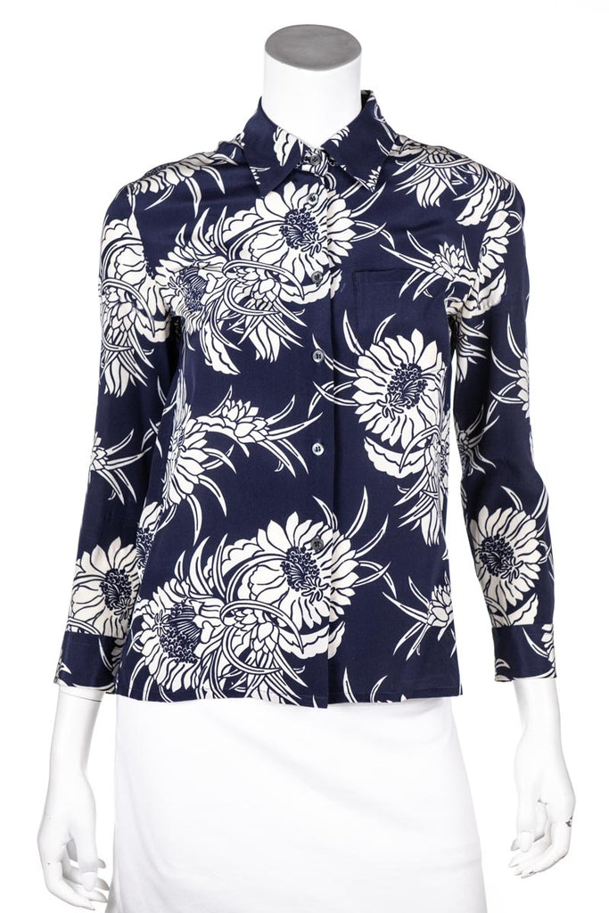 Prada Navy Silk Floral Print Button Down Shirt Size S - OWN THE COUTURE
