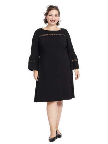 Long Sleeve Dress With Lace Detail In Black