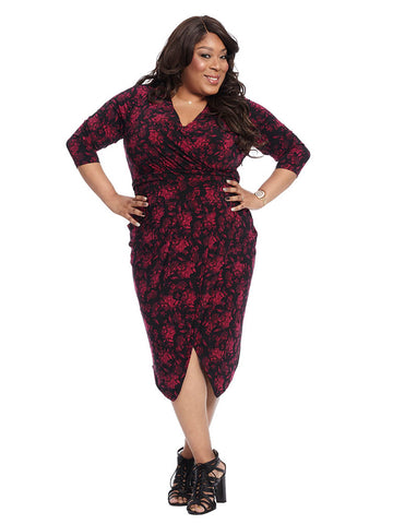 Ruched Waist Dress in Purple Orchid Combo