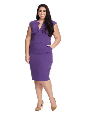 Meg V-Neck Dress In Deep Purple