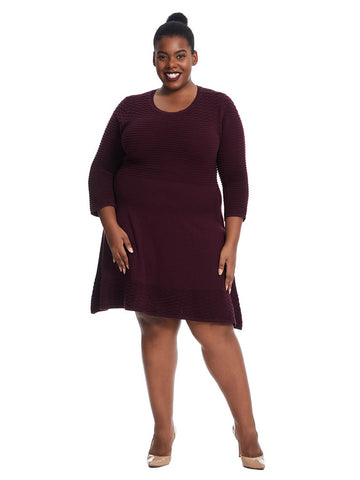 Textured Fit & Flare Sweater Dress In Wine
