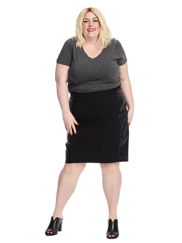 Paneled Pencil Skirt In Black