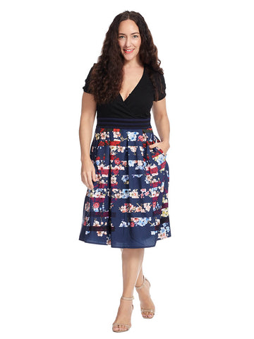 Floral Stripe Print Mixed Media Dress In Black And Navy