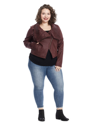 Coated Moto Jacket In Cabernet