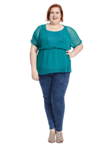 Carrie Top In Mint Dot