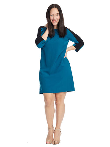 Colorblock Shift Dress In Teal