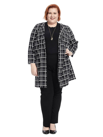 Long Blazer In Black And White Check Print