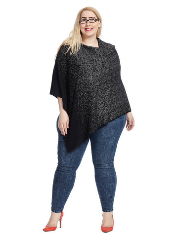 Abstract Herringbone Poncho