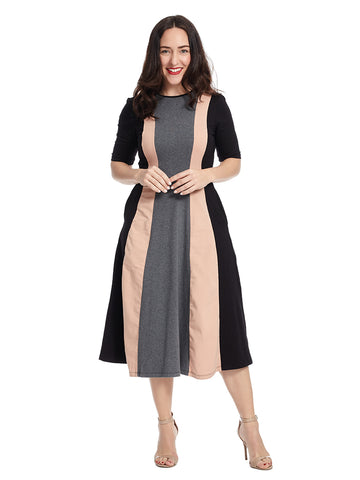 Charcoal And Rose Color Block Dress