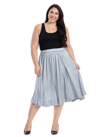 Crinkle Hem Skirt In Slate Blue