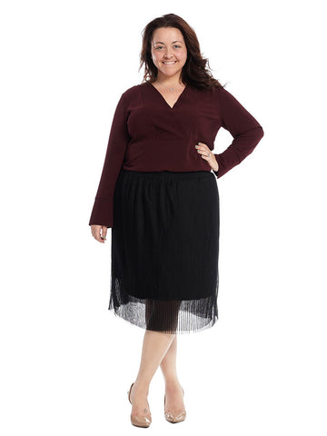 Pleated Accordion Skirt In Black