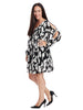 Shift Dress In Floral Black/White Print