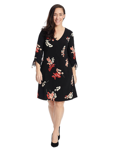 V-Neck Shift Dress In Floral Print