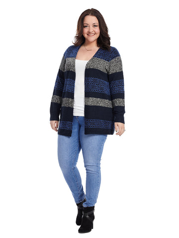 Blue Striped Cozy Cardigan
