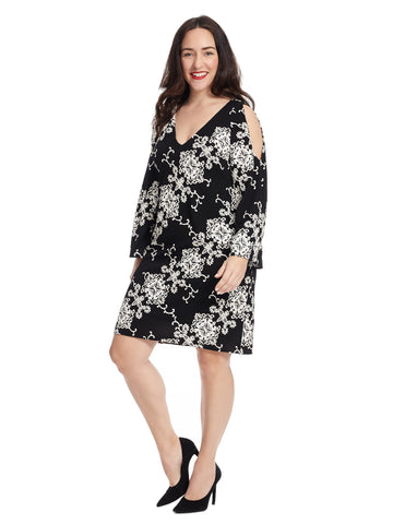 Shift Dress In Black And White Puffed Print