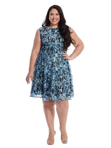 Fit & Flare Dress In Blue Lace