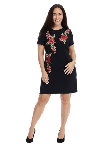 Shift Dress With Floral Applique Detail