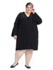 Bell Sleeve V-Neck Dress In Black