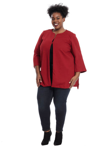 Long Sleeve Collarless Jacket In Burnt Scarlet