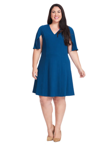 Fit & Flare Dress In Evening Blue