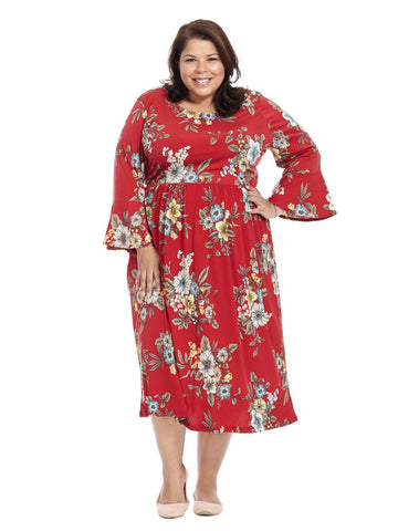 Bell Sleeve Fit And Flare Dress In Rust Multi Floral