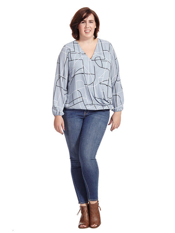 Chambray Lines Surplice Blouse