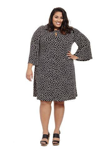 Polka Dot Dress With Bell Sleeves