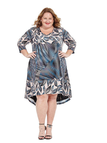 Abstract Leaf Printed Hi-Lo Dress