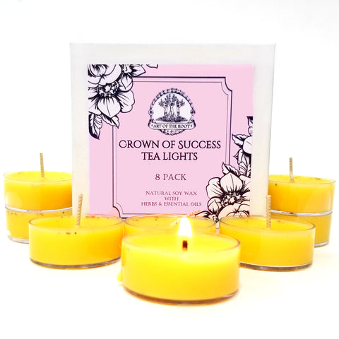 Crown of Success Soy Tea Light Candles for Victory, Achievement, Business Projects, New Ventures & Prosperity
