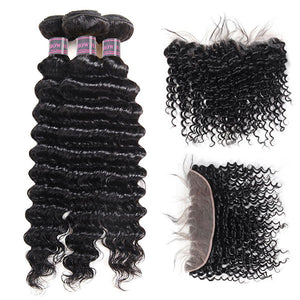 Ishow Brazilian Deep Wave 3 Bundles With 13*4 Ear To Ear Frontal Closure Human Hair