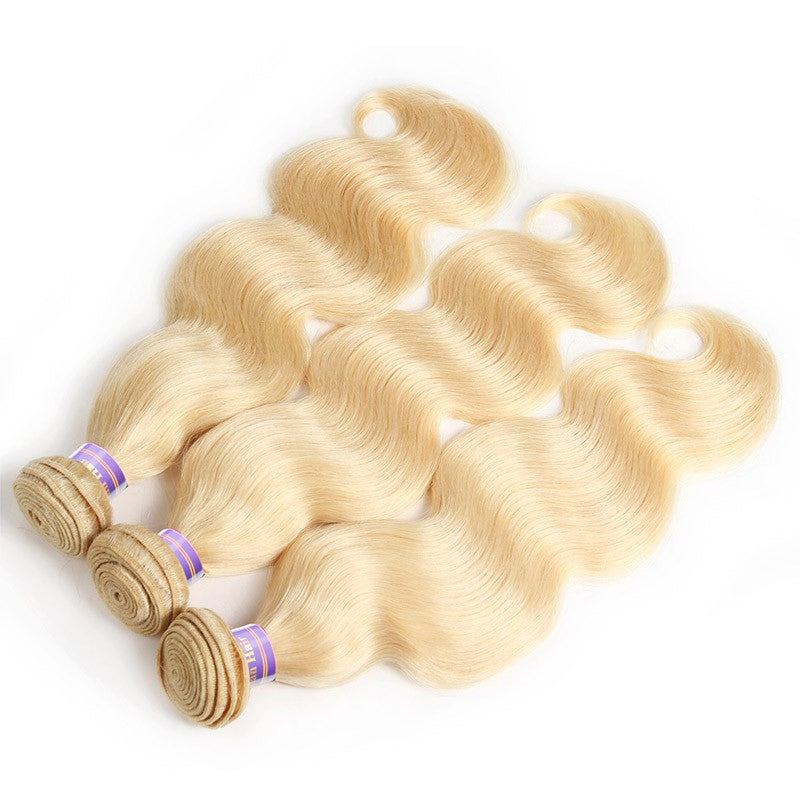 Virgin Body Wave 613 Blonde Human Hair 3 Bundles With Lace Frontal